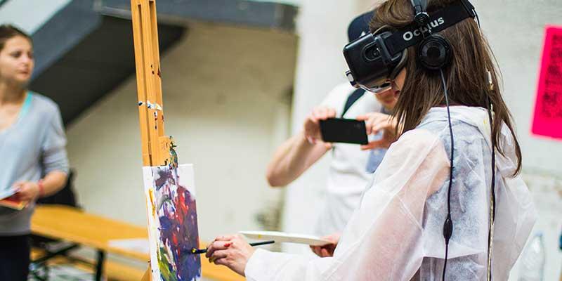 girl virtual reality painting