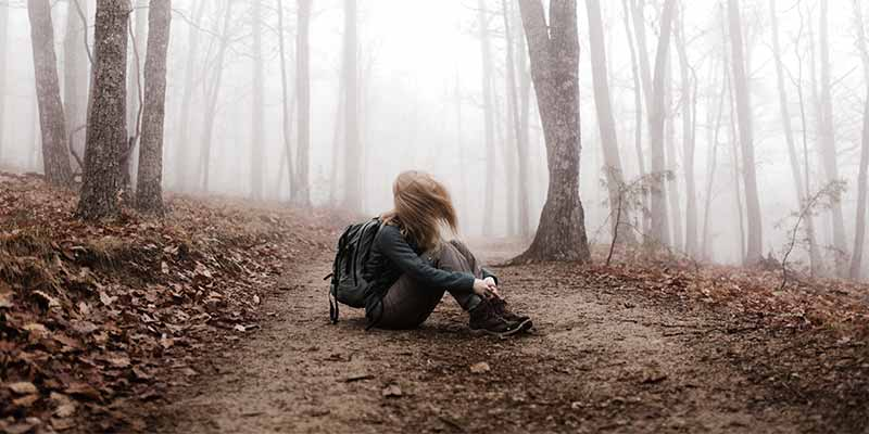 enough was enough sad girl in forest